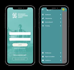 A screenshot of the SVA App with the login screen